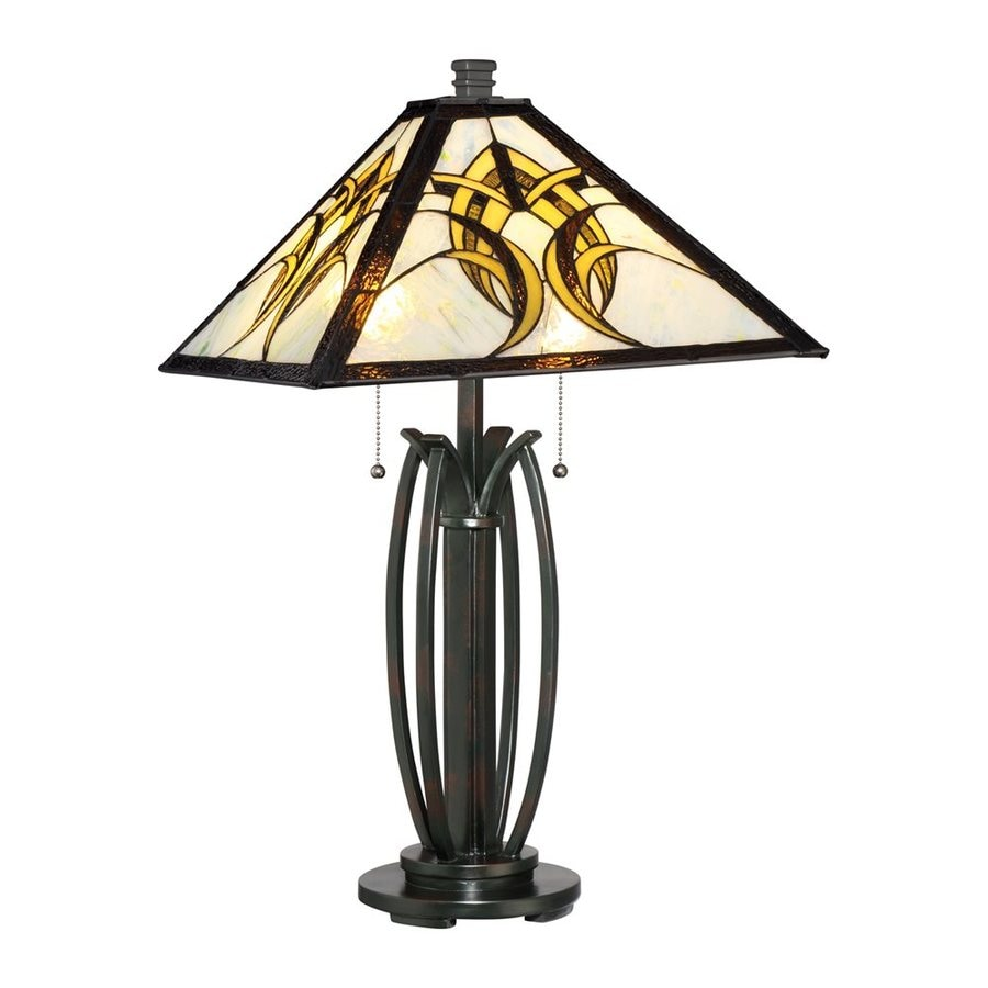 Quoizel Viking 25.5-in Valiant Bronze Indoor Table Lamp with Tiffany-Style Shade