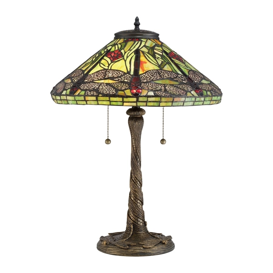 Quoizel Jungle Dragonfly 23.5-in Architectural Bronze Indoor Table Lamp with Tiffany-Style Shade