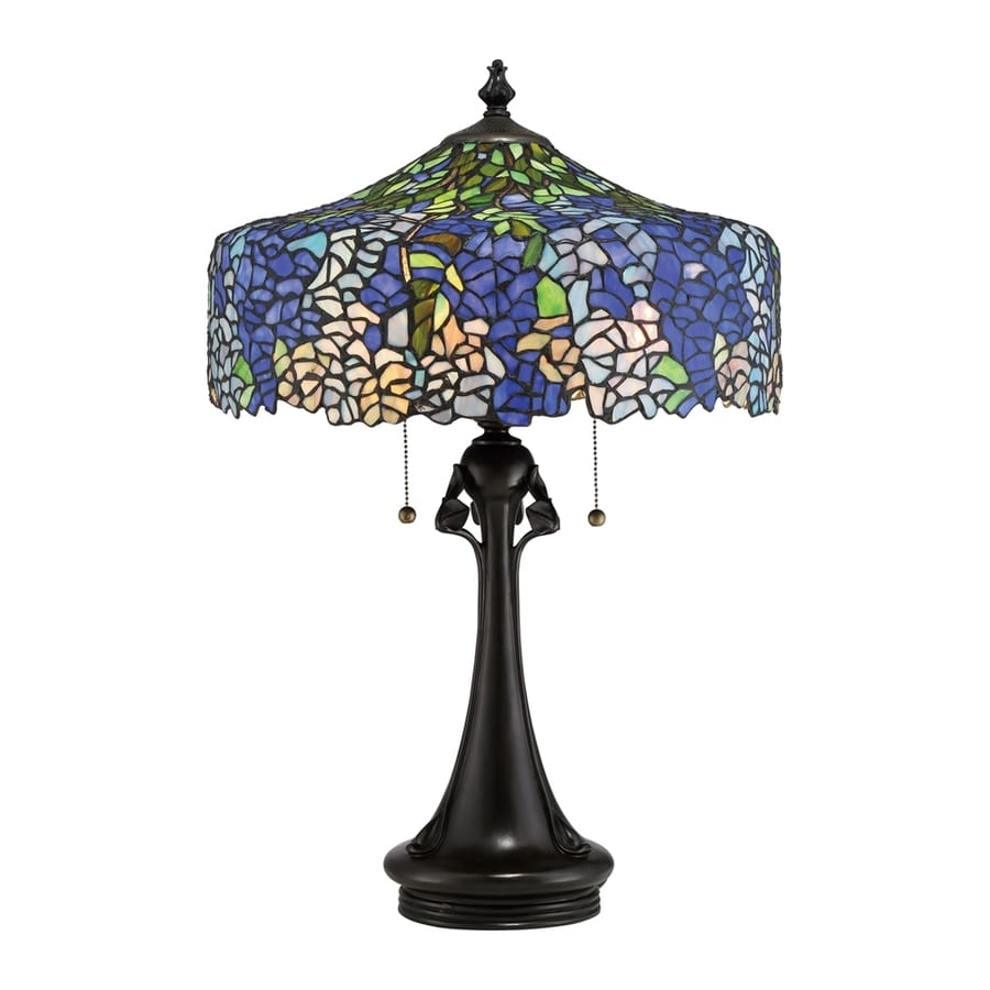 Quoizel Cobalt 27-in Vintage Bronze Indoor Table Lamp with Tiffany-Style Shade