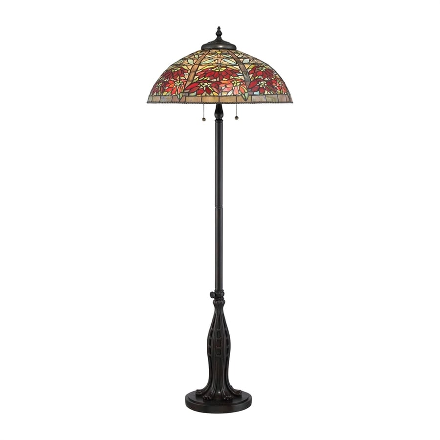Quoizel Tiffany Red Maple 61-in Valiant Bronze Indoor Floor Lamp with Tiffany-Style Shade
