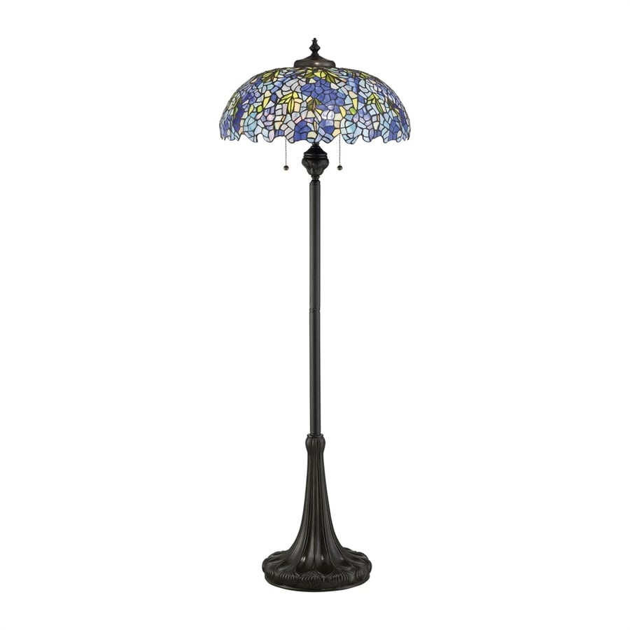 Quoizel Tiffany Royal Briar 61-in Vintage Bronze Indoor Floor Lamp with Tiffany-Style Shade