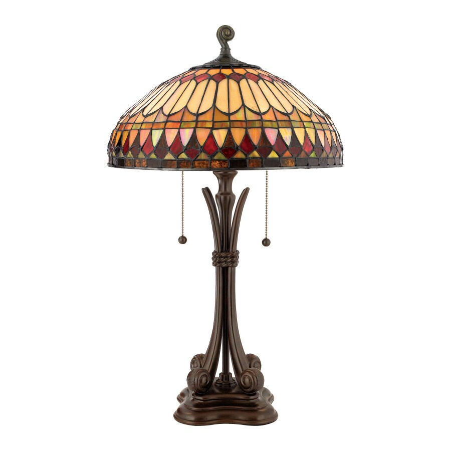 Quoizel West End 26.5-in Brushed Bullion Table Lamp with Glass Shade
