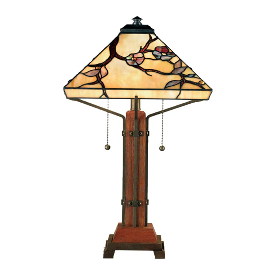 Quoizel Grove Park 23.5-in Brown Indoor Table Lamp with Tiffany-Style Shade