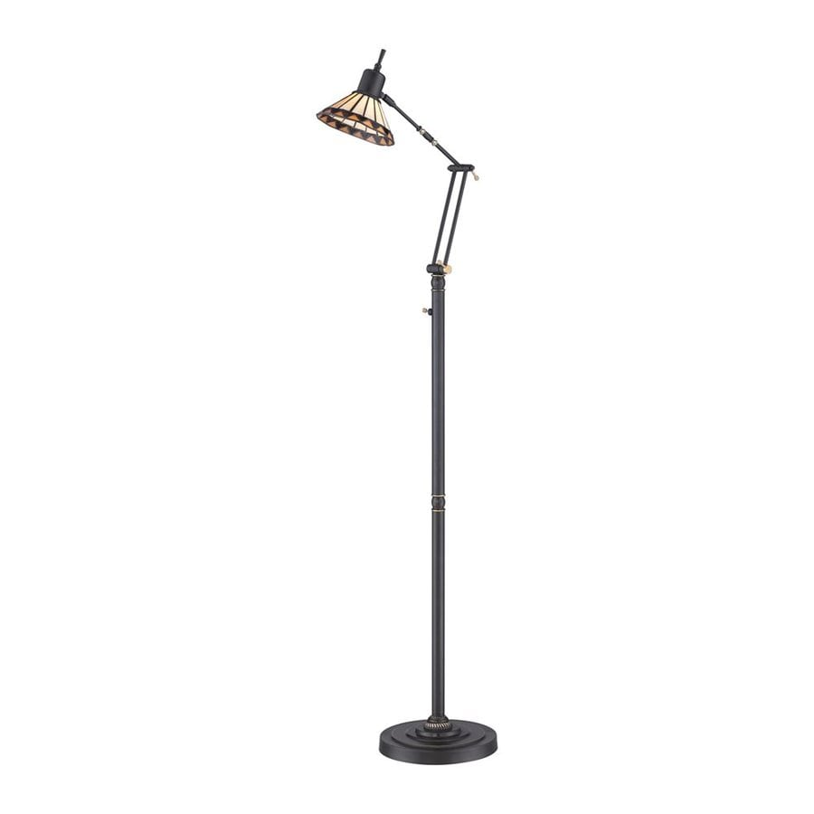 shop quoizel 51 in medici bronze led swing arm floor lamp With tiffany style swing arm floor lamp