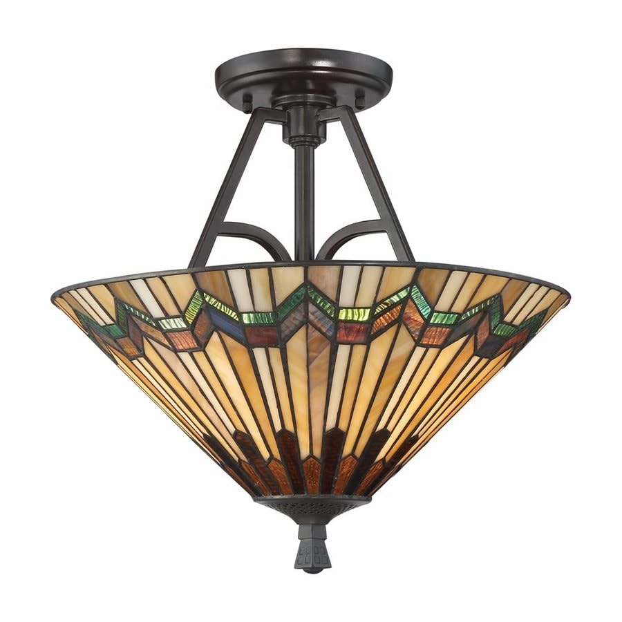 Quoizel Alcott 16-in W Valiant Bronze Stained Tiffany-Style Semi-Flush Mount Light