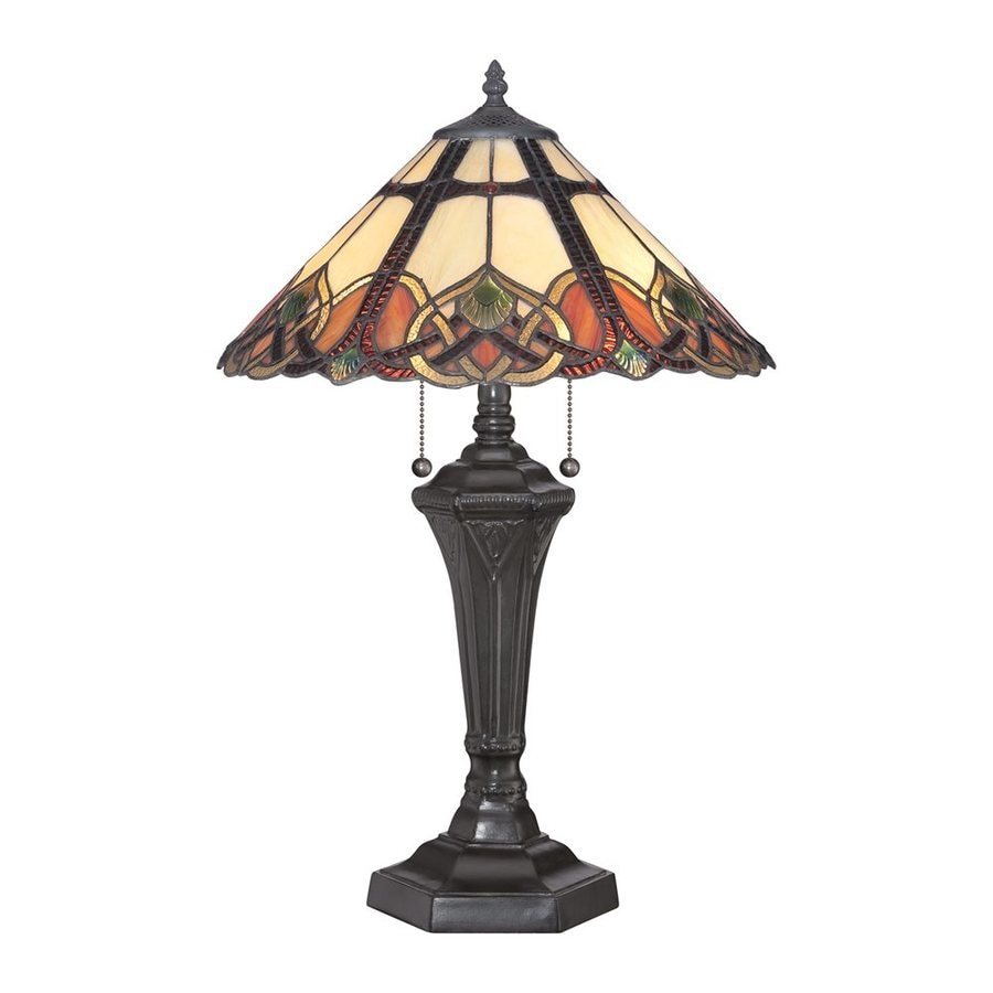 Quoizel Cambridge 23.5-in Vintage Bronze Indoor Table Lamp with Tiffany-Style Shade
