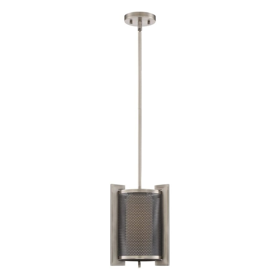Quoizel Metropolis 10-in Antique Nickel Industrial Mini Etched Glass Cylinder Pendant
