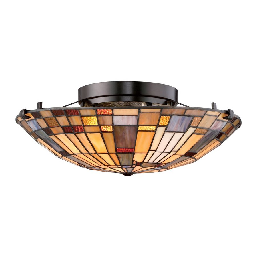 Quoizel Inglenook 16.5-in W Valiant Bronze Stained Tiffany-Style Semi-Flush Mount Light