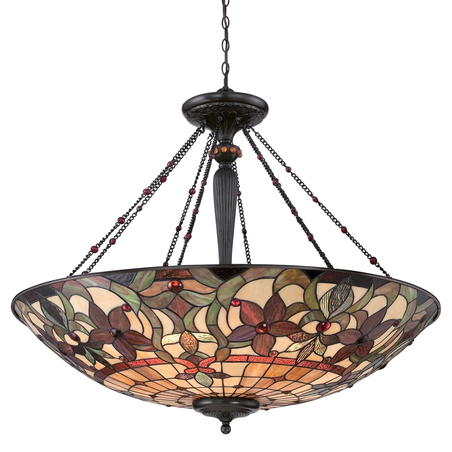 Quoizel Kami 40-in Vintage Bronze Tiffany-Style Single Stained Glass Bowl Pendant