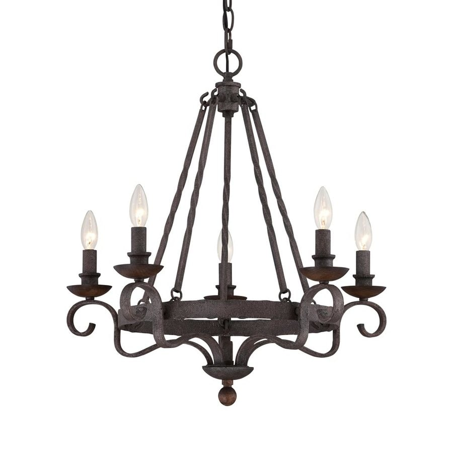 Quoizel Noble 24-in 5-Light Rustic Black Mediterranean Candle Chandelier