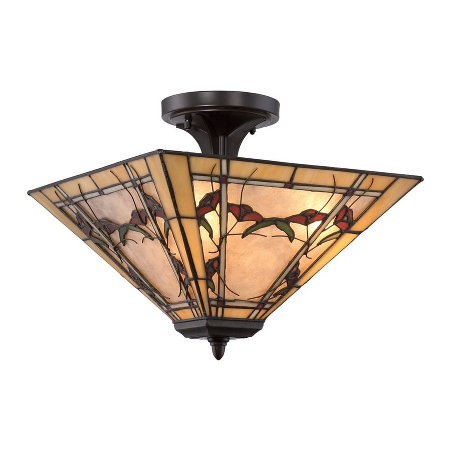 Quoizel Monteclaire 15-in W Western Bronze Tiffany-Style Semi-Flush Mount Light