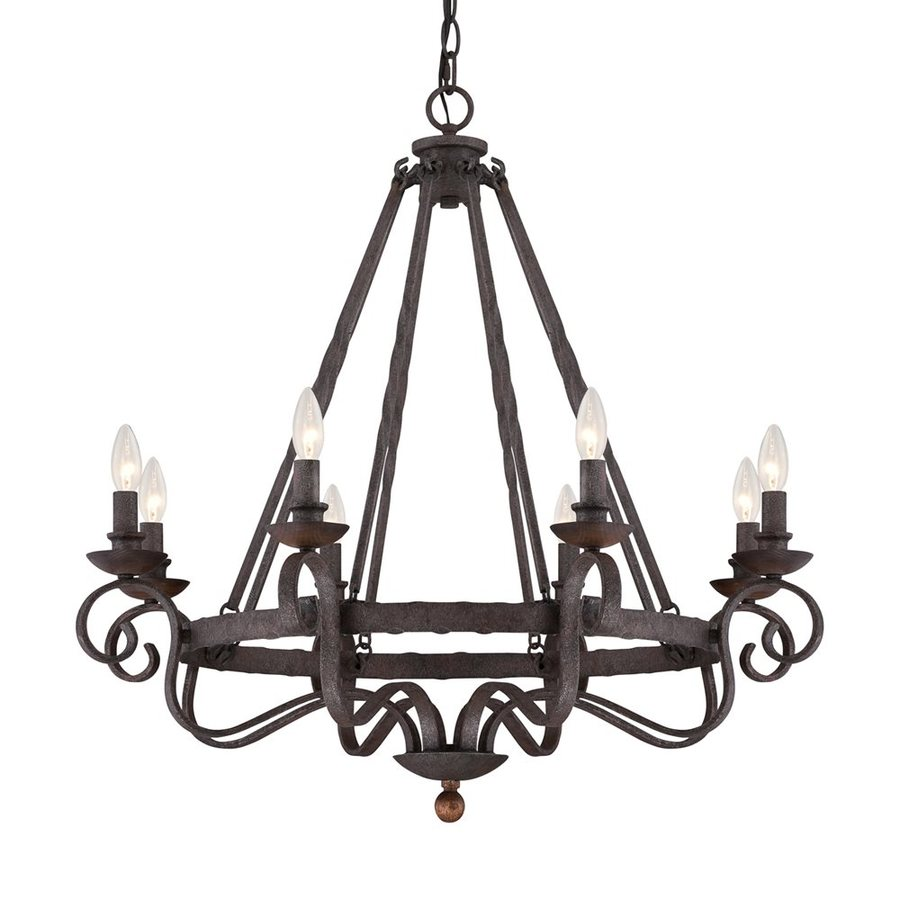 Quoizel Noble 32-in 8-Light Rustic Black Mediterranean Candle Chandelier