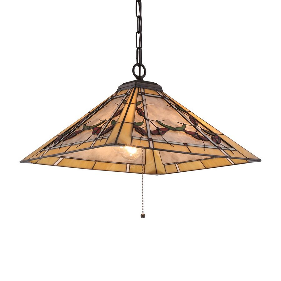 Quoizel Monteclaire 18-in Western Bronze Tiffany-Style Single Stained Glass Bell Pendant