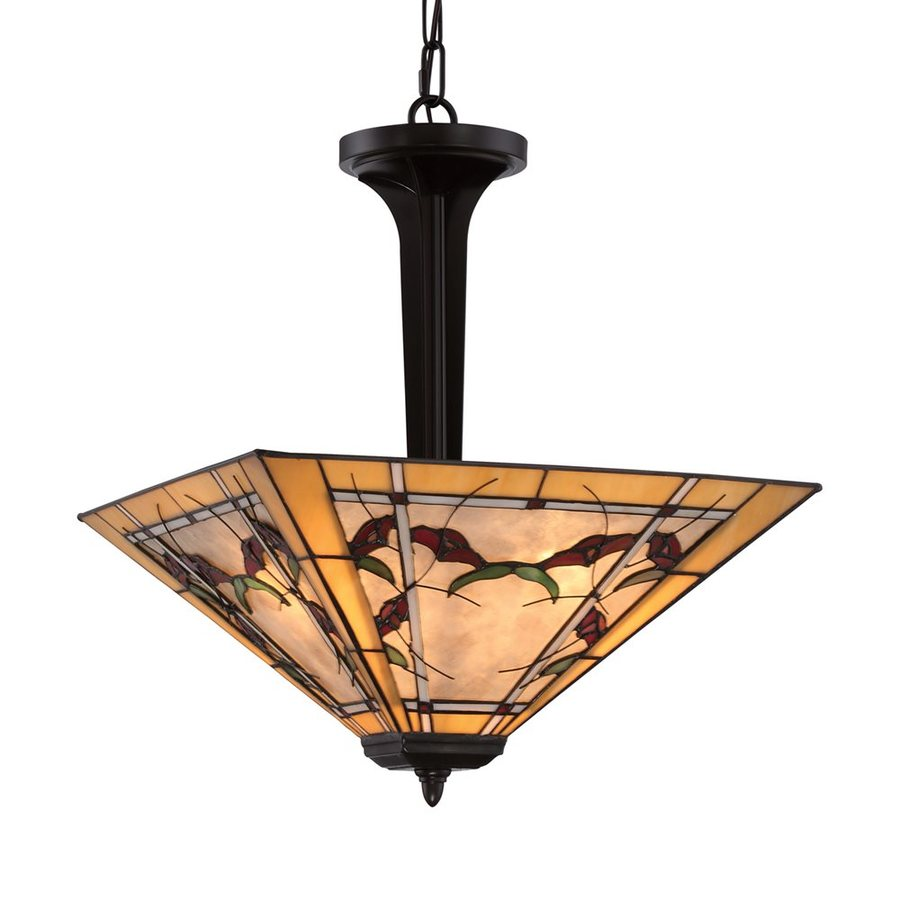Quoizel Monteclaire 18-in Western Bronze Tiffany-Style Single Stained Glass Bowl Pendant