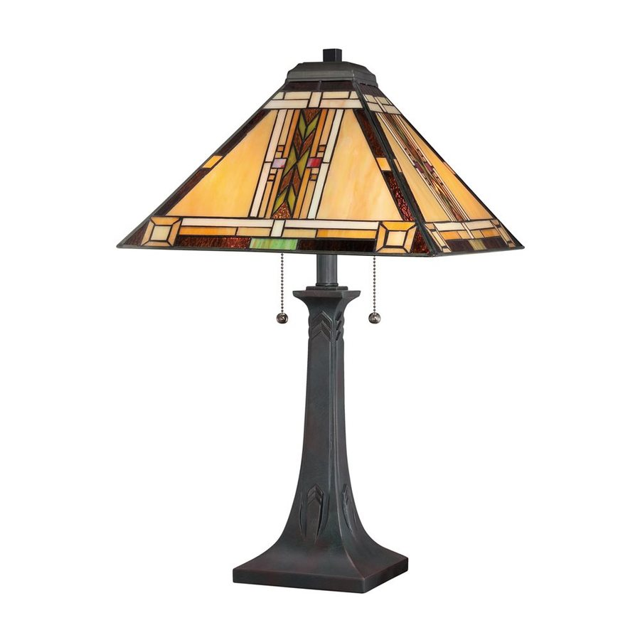 Quoizel Navajo 25-in Valiant Bronze Table Lamp with Glass Shade