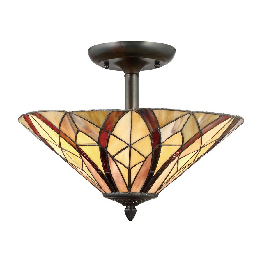 in w valiant bronze tiffany style semi flush mount light at