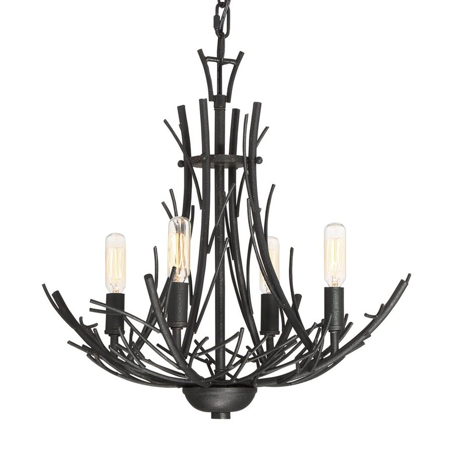 Quoizel Thornhill 18-in 4-Light Marcado Black Industrial Abstract Chandelier