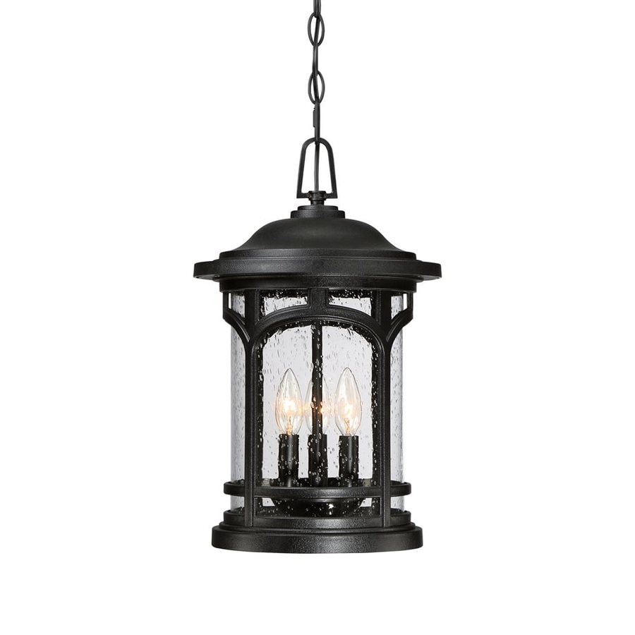 Quoizel Marblehead 18-in Mystic Black Outdoor Pendant Light