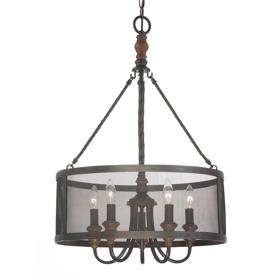 Quoizel Odell 20-in 5-Light Imperial Bronze Drum Chandelier