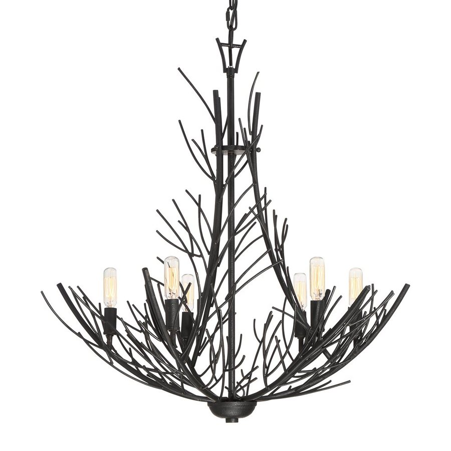 Quoizel Thornhill 26-in 6-Light Marcado Black Industrial Abstract Chandelier