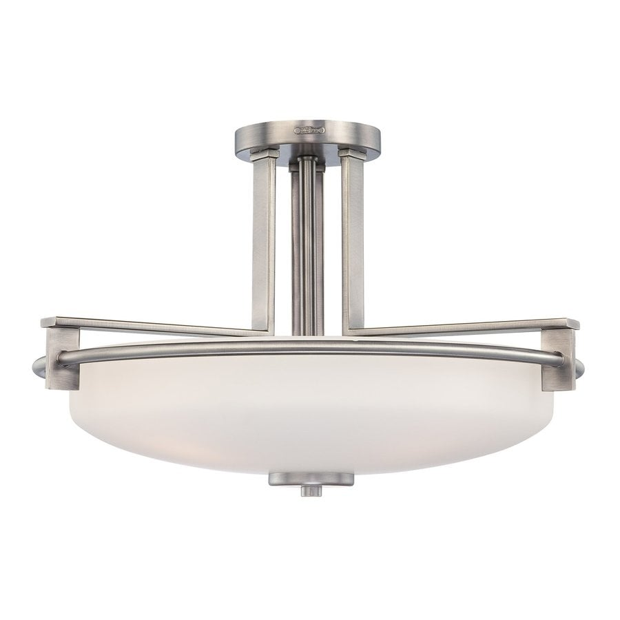Quoizel Taylor 21-in W Antique Nickel Etched Glass Semi-Flush Mount Light