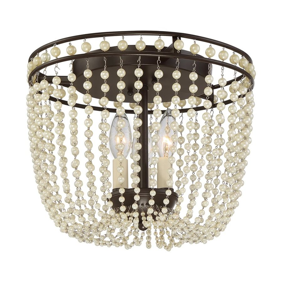 Quoizel Opera 13.5-in W Western Bronze Crystal Flush Mount Light