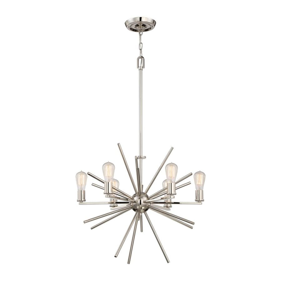 Quoizel Uptown Carnegie 25.5-in 6-Light Imperial Silver Abstract Chandelier