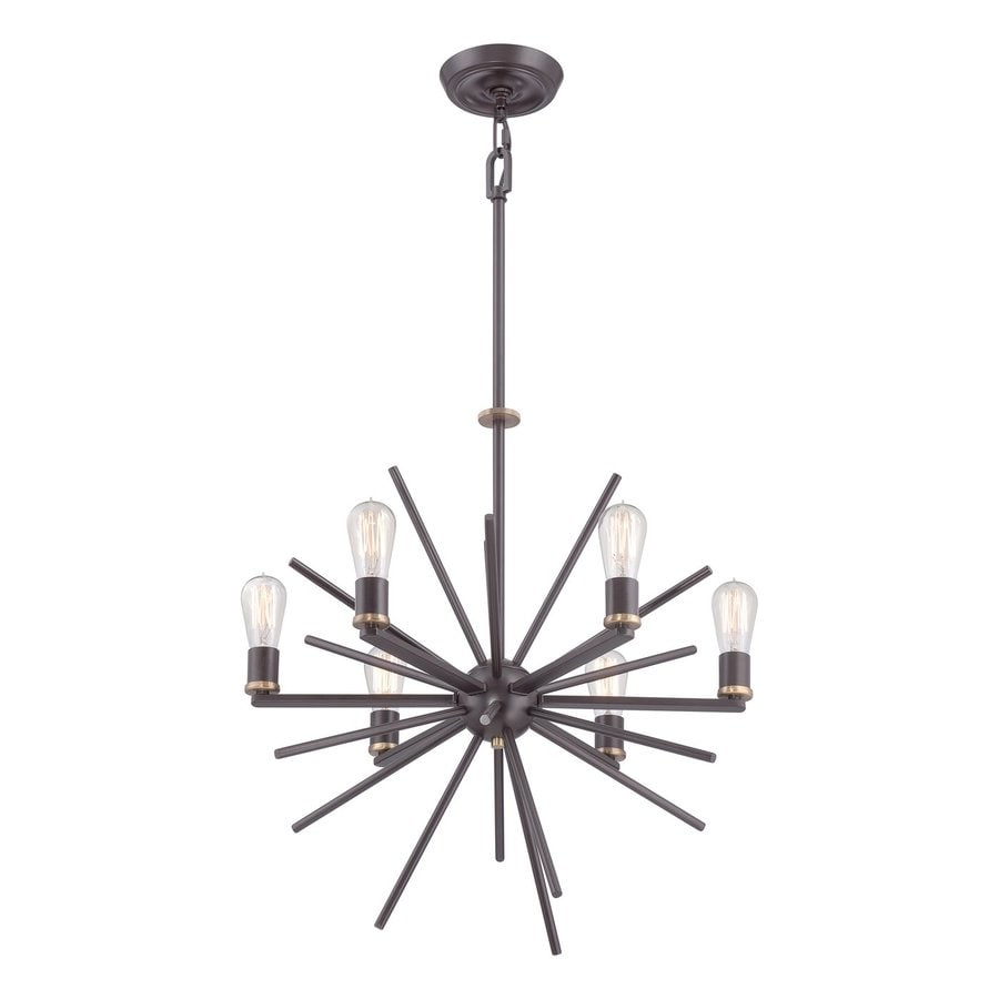 Quoizel Uptown Carnegie 25.5-in 6-Light Western Bronze Abstract Chandelier