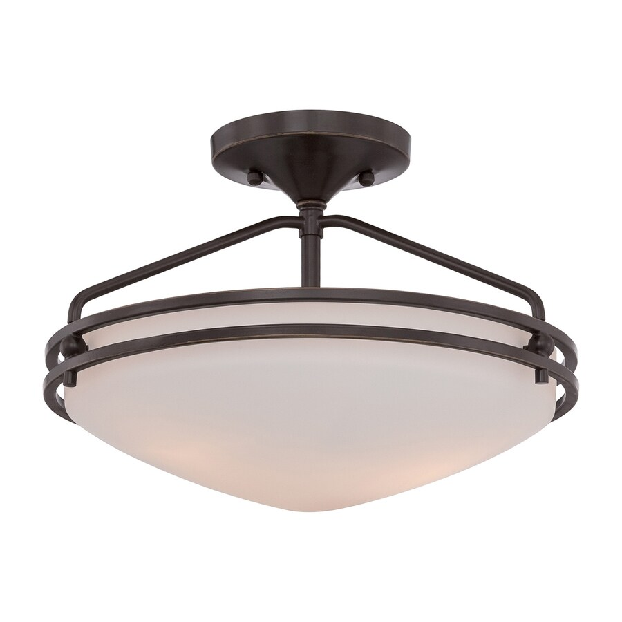 Quoizel Ozark 13-in W Palladian Bronze Etched Glass Semi-Flush Mount Light