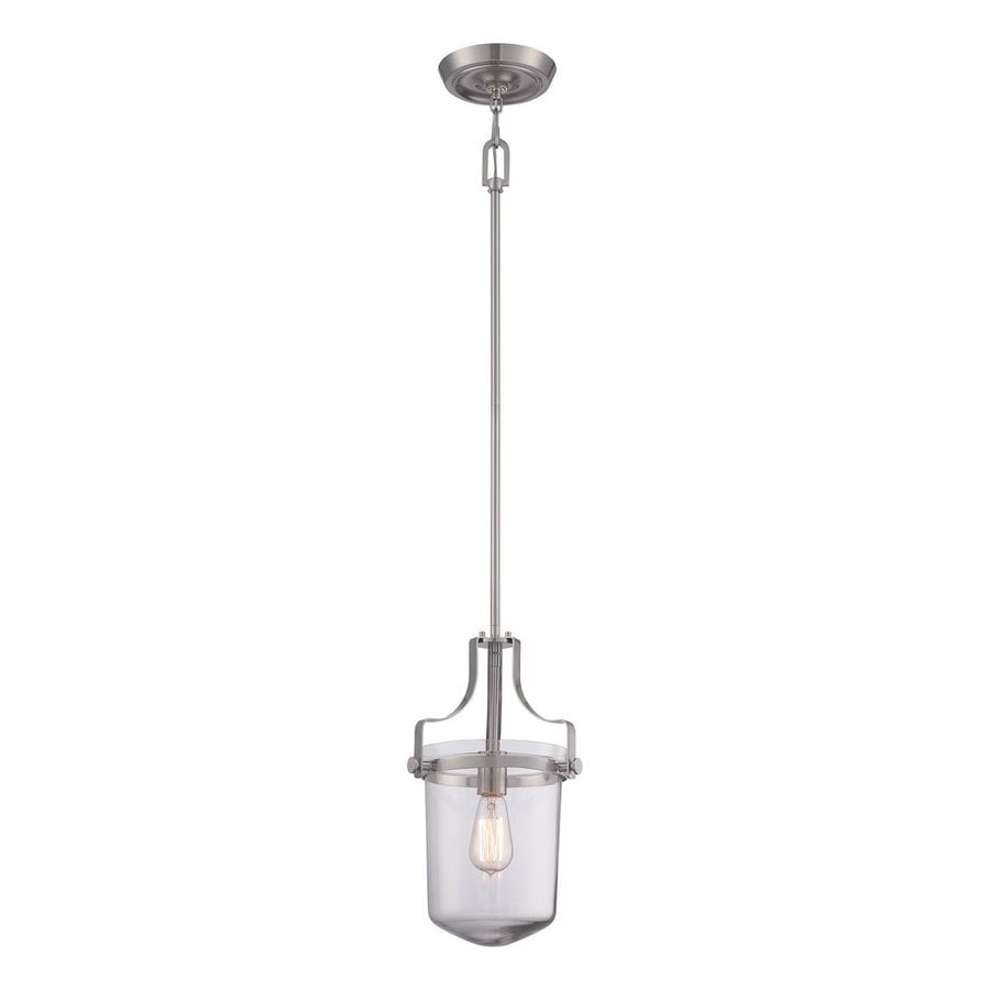 Quoizel Uptown Penn Station 10-in Brushed Nickel Mini Clear Glass Urn Pendant