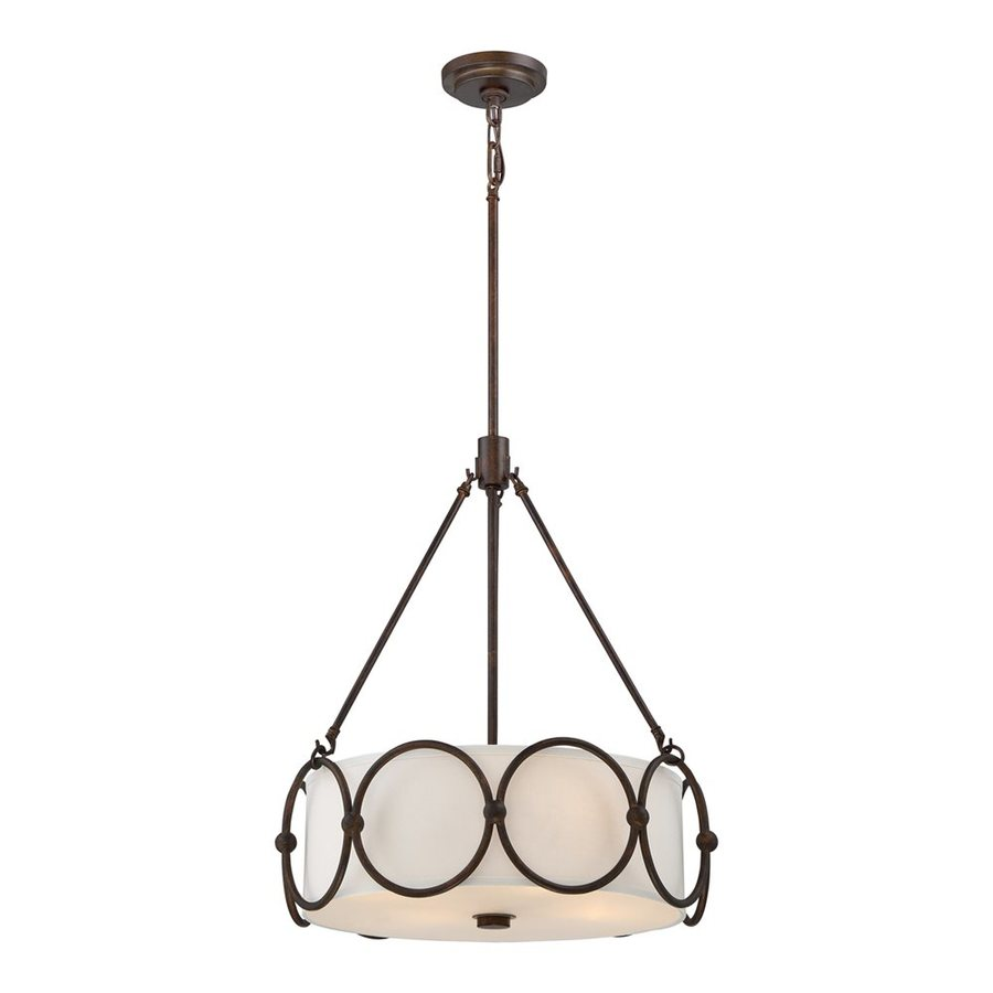 Quoizel Adams 18.5-in Leathered Bronze Wrought Iron Single Drum Pendant