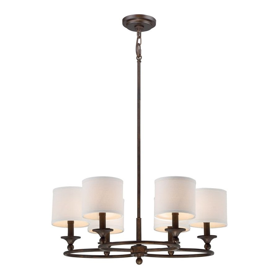 Quoizel Adams 25-in 6-Light Leathered Bronze Shaded Chandelier