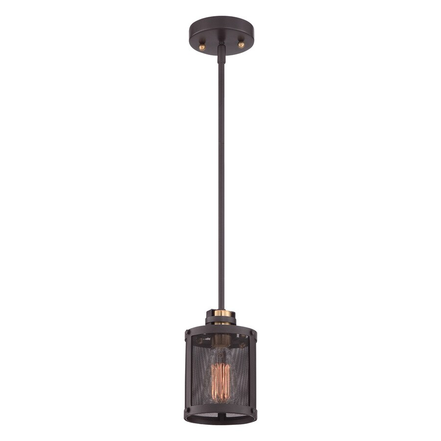 Quoizel Union Station 5-in Western Bronze Industrial Mini Cylinder Pendant