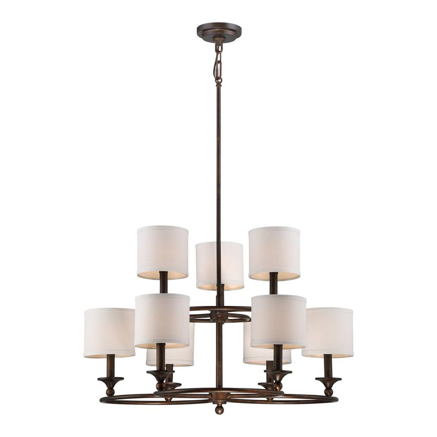 Quoizel Adams 29.25-in 9-Light Leathered Bronze Shaded Chandelier