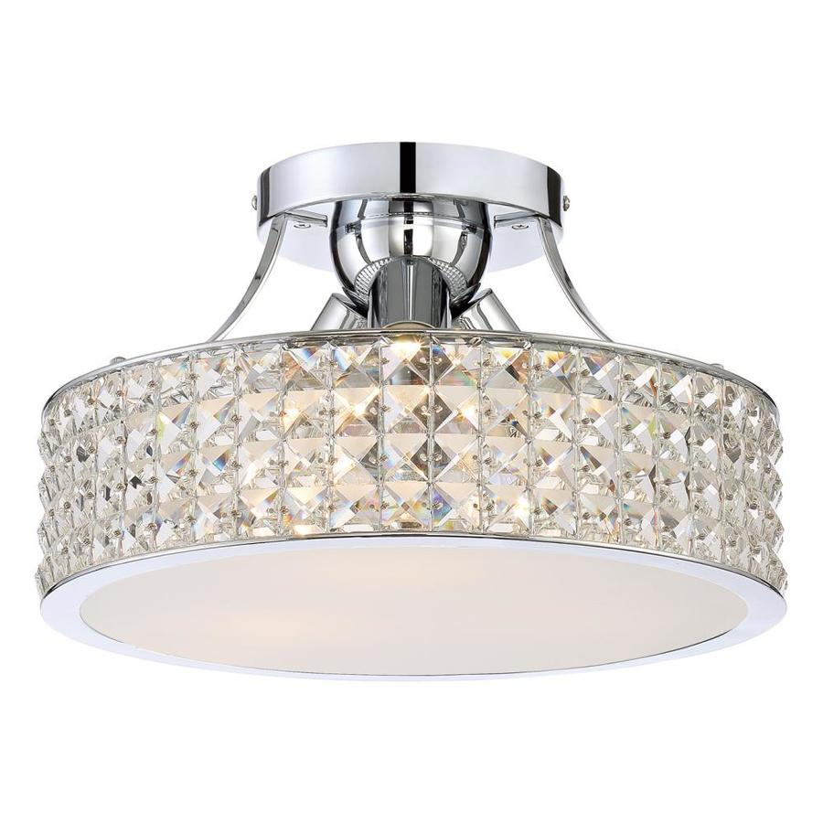 Quoizel Platinum Alexa 14-in W Polished Chrome Crystal Crystal Accent Semi-Flush Mount Light