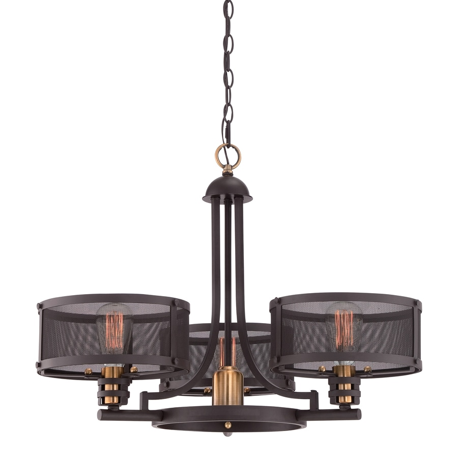 Quoizel Union Station 28-in 3-Light Western Bronze Shaded Chandelier