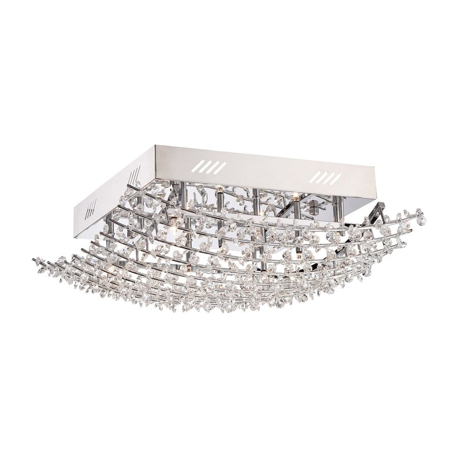Quoizel Valla 18.5-in W Polished Chrome Crystal Accent Semi-Flush Mount Light