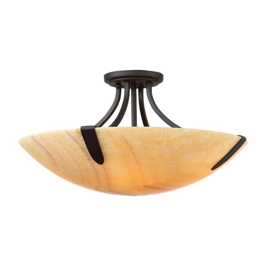 Quoizel Arcadia 20-in W Imperial Bronze Natural Onyx Semi-Flush Mount Light
