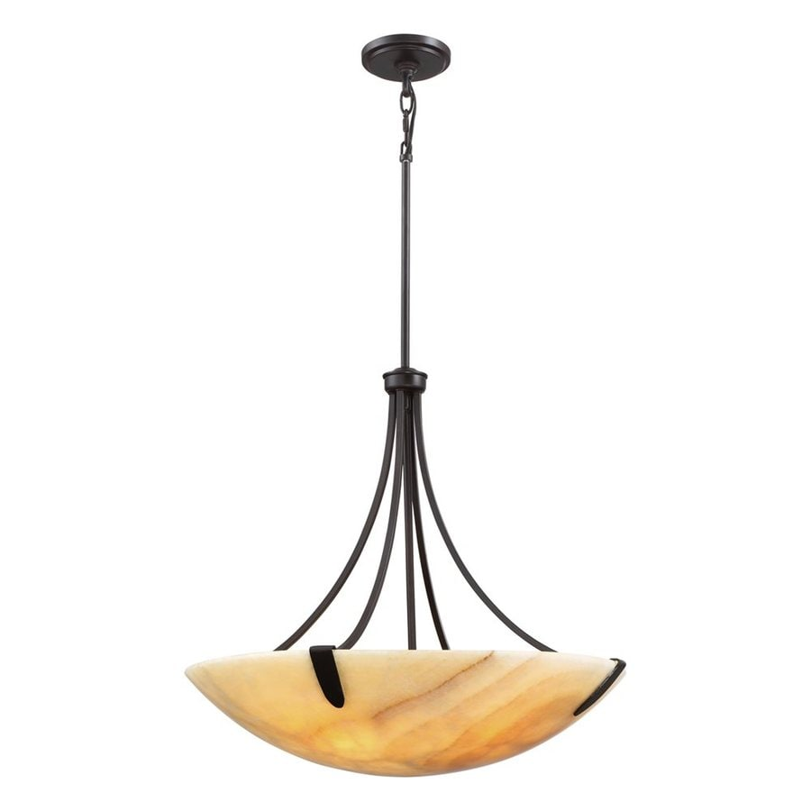 Quoizel Arcadia 24.25-in Imperial Bronze Wrought Iron Single Bowl Pendant