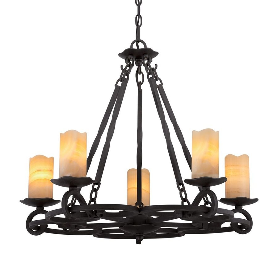 Quoizel Armelle 28-in 5-Light Imperial Bronze Mediterranean Tinted Glass Candle Chandelier