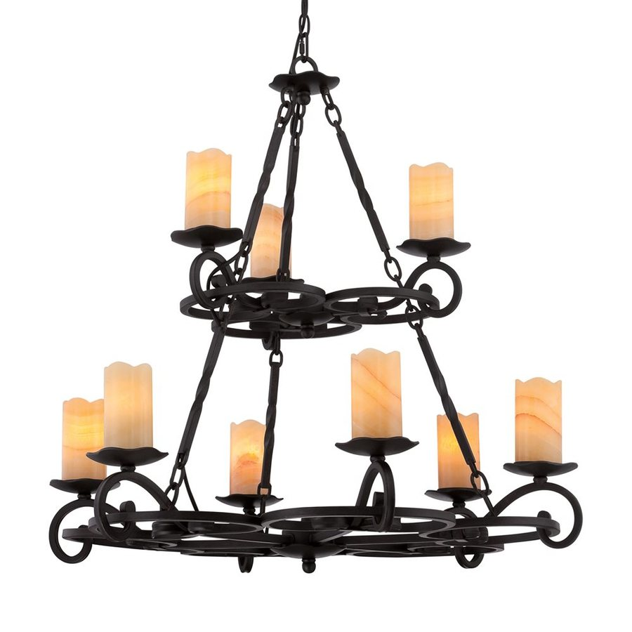 Quoizel Armelle 33-in 9-Light Imperial Bronze Mediterranean Tinted Glass Candle Chandelier