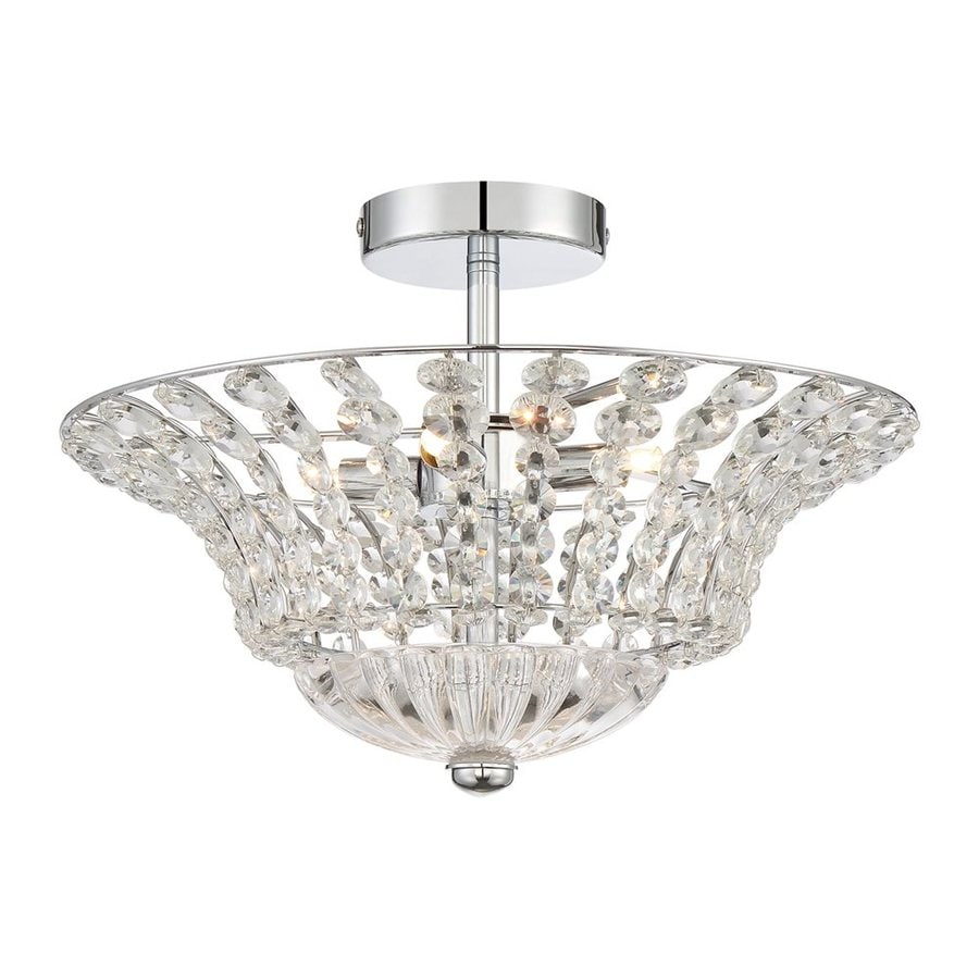Quoizel Platinum Crowne 16.5-in W Polished Chrome Crystal Crystal Accent Semi-Flush Mount Light