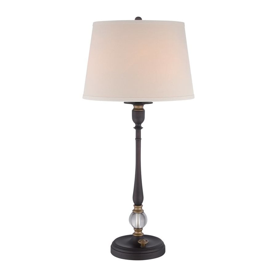 Quoizel Cruise 31.5-in 3-Way Oil-Rubbed Bronze Indoor Table Lamp with Fabric Shade