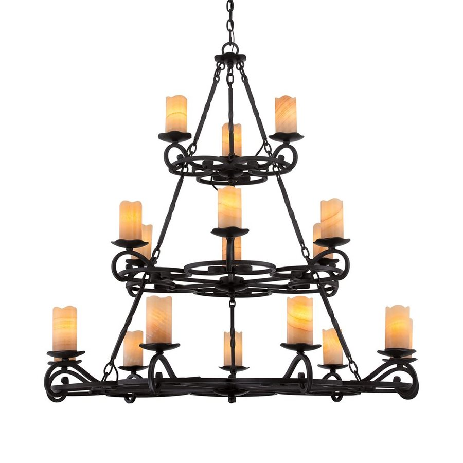 Quoizel Armelle 48-in 18-Light Imperial Bronze Mediterranean Tinted Glass Tiered Chandelier