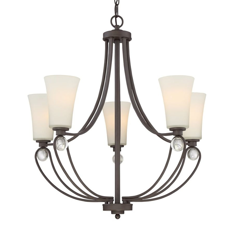 Quoizel Amelia 28.25-in 5-Light Old Bronze Etched Glass Shaded Chandelier