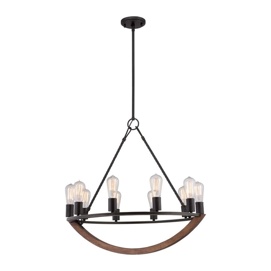 Quoizel Anchor 28-in 10-Light Imperial Bronze Rustic Candle Chandelier