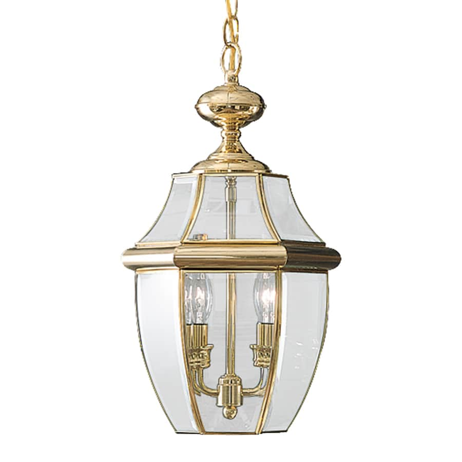 Quoizel Newbury 19-in Polished Brass Outdoor Pendant Light