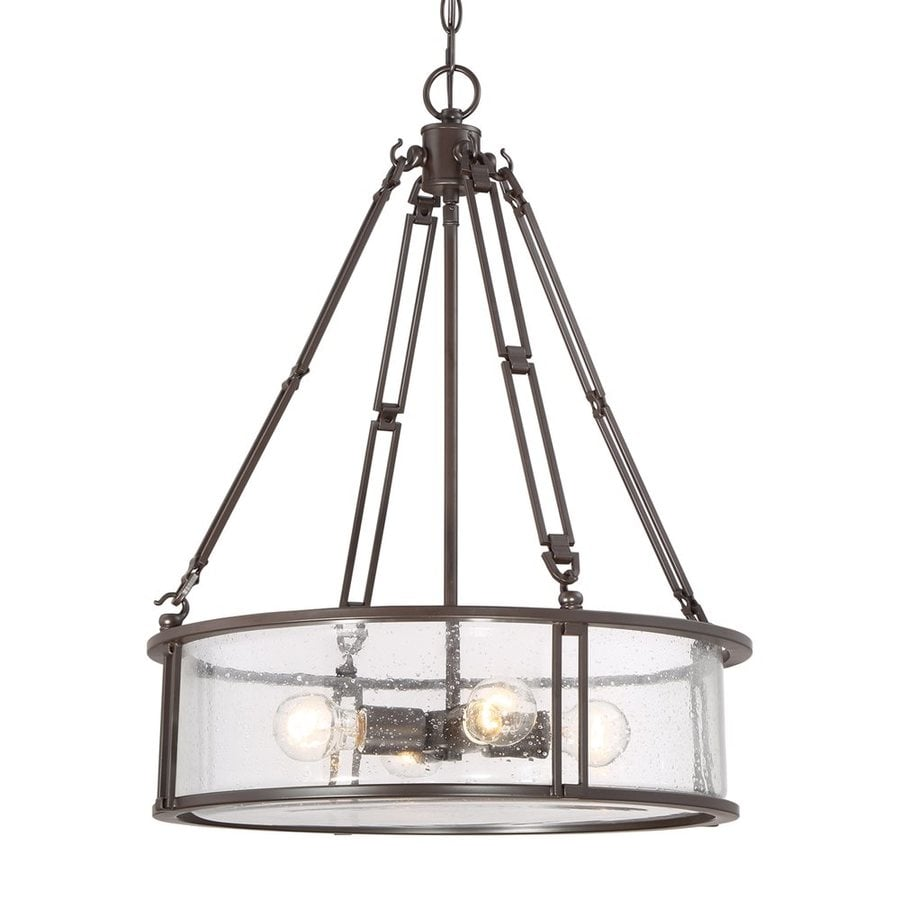 Quoizel Buchanan 20-in 4-Light Western bronze Industrial Seeded Glass Drum Chandelier