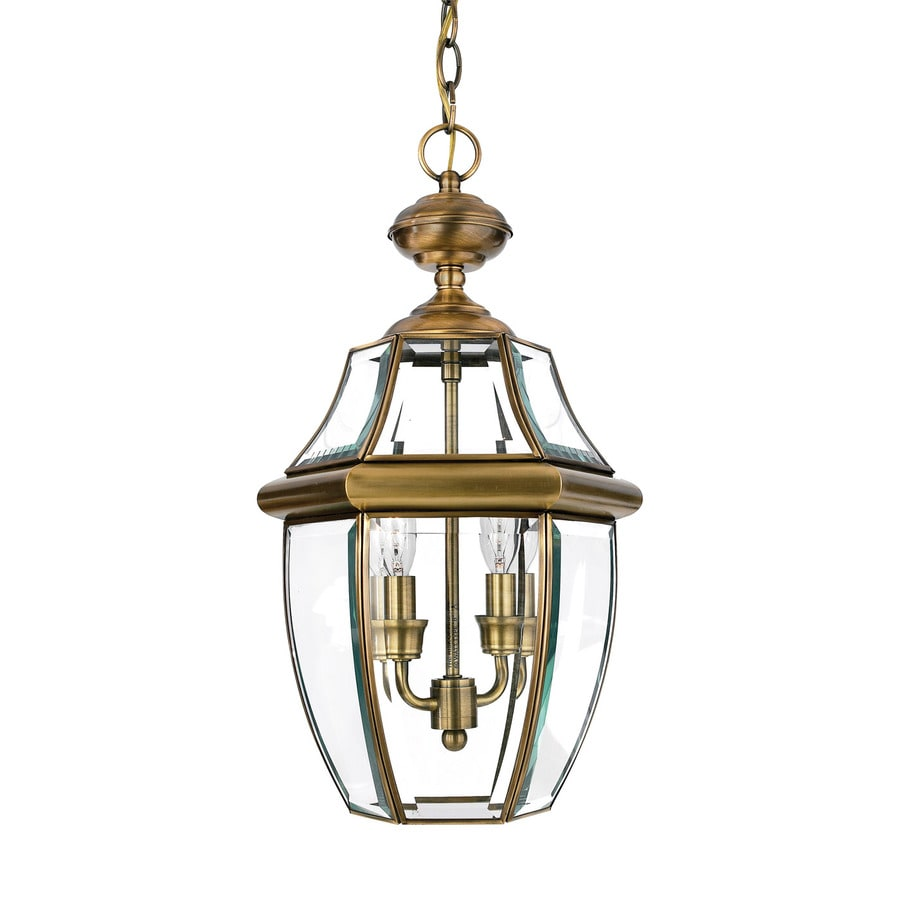 Quoizel Newbury 21-in Antique Brass Outdoor Pendant Light