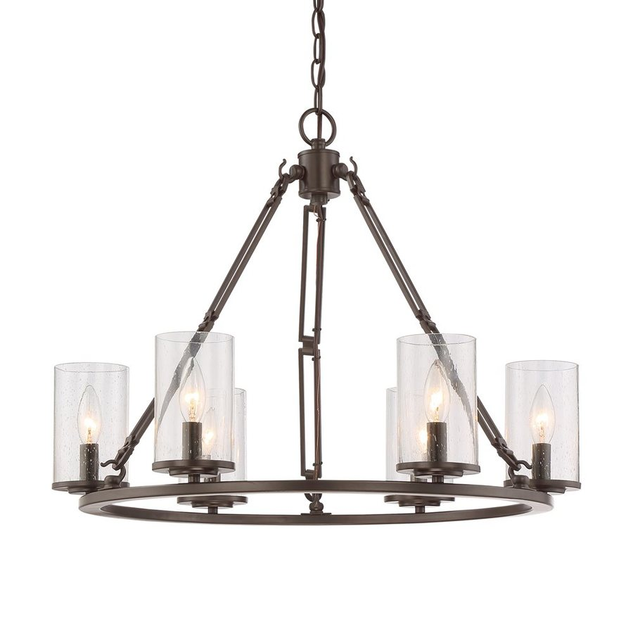 Quoizel Buchanan 25-in 6-Light Western Bronze Rustic Seeded Glass Candle Chandelier